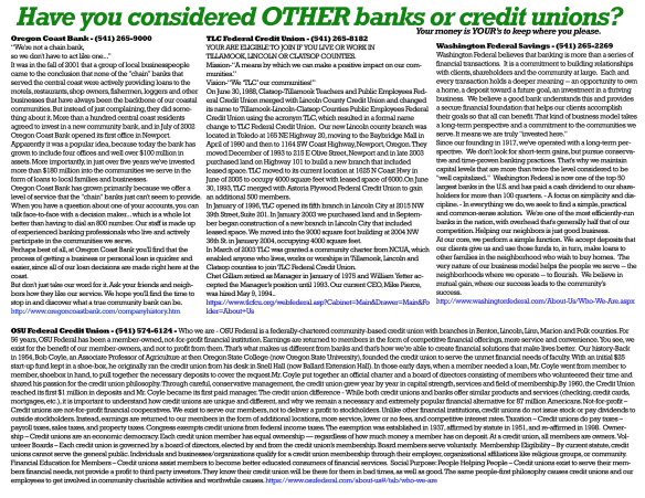 Local credit unions, banks and regional banks